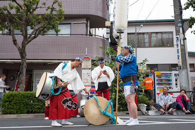 Preparations for drums and lanterns almost over before the Koenji Awa-Odori Festival Parade, Tokyo, 2016.