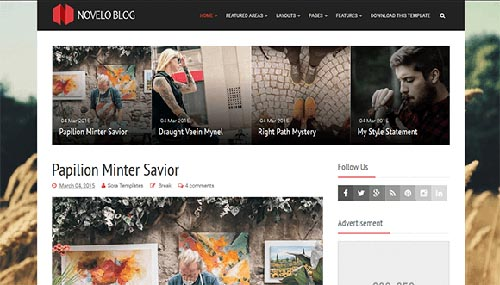 Free Novelo Blog Blogger Template download