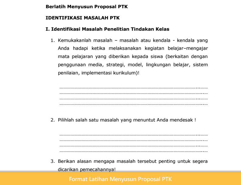 Format Latihan Menyusun Proposal PTK