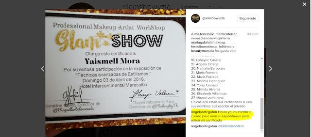 certificado del glam show venezuela