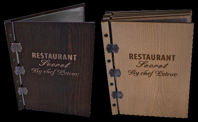 дървено меню, луксозни папки, меню за заведение, ресторантско меню, тефтери с дървени корици, бизнес папки, корпоративни подаръци, дървени папки за менюта, корици за каталог