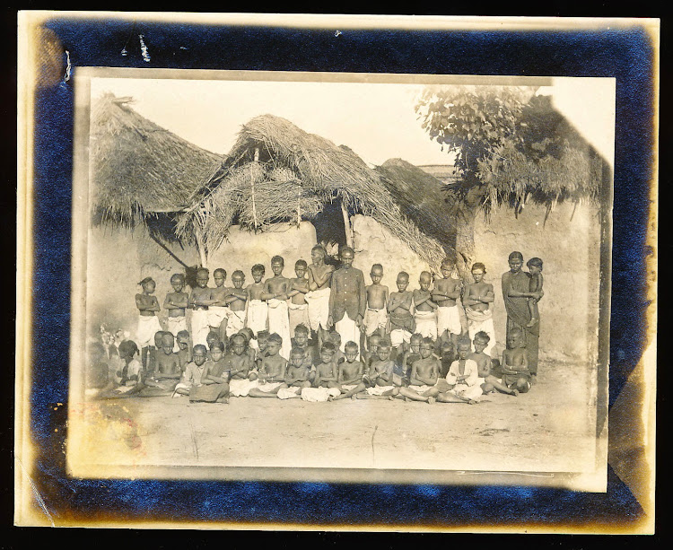 Group Photo of Students and Teacher of a Native School - India c1905