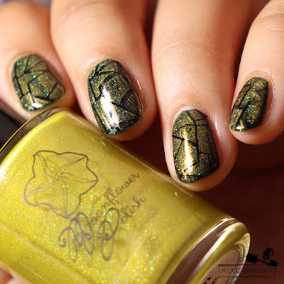 Nail stamping polish swatch of yellow holographic nail polish Corn Maze by Moonflower Polish