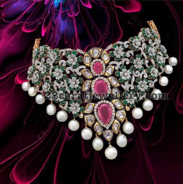 Emerald Diamond Choker by Nootan Das Jewellers