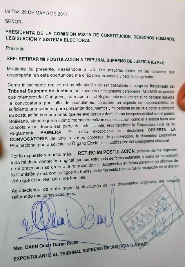 Carta de renuncia del primer aspirante para magistrado retira su postulación