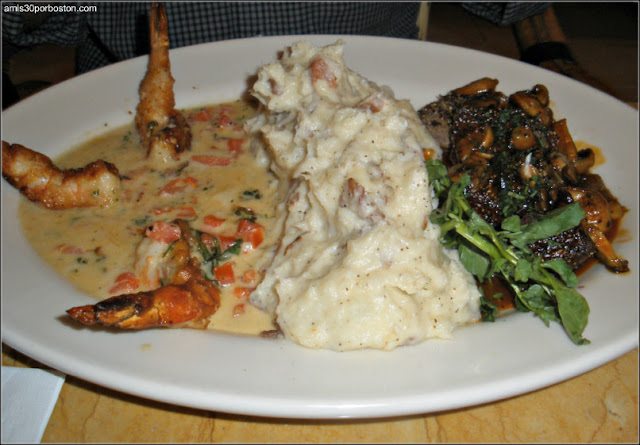 Shrimp Scampi & Steak Diane: Medallions of Certified Angus Beef Steak Covered with Black Peppercorns and a Rich Mushroom Wine Sauce. Served with Mashed Potatoes and Grilled Onions