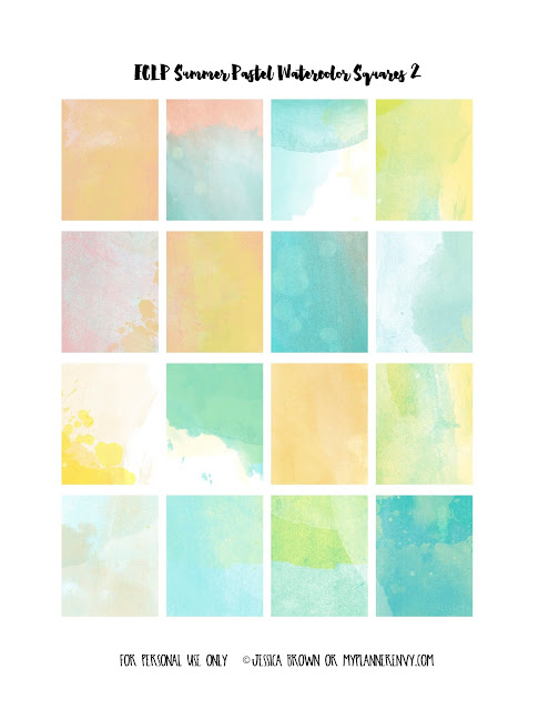 Free Printable Summer Pastel Watercolor Weekly Squares Page 2 for the Vertical Erin Condren on myplannerenvy.com