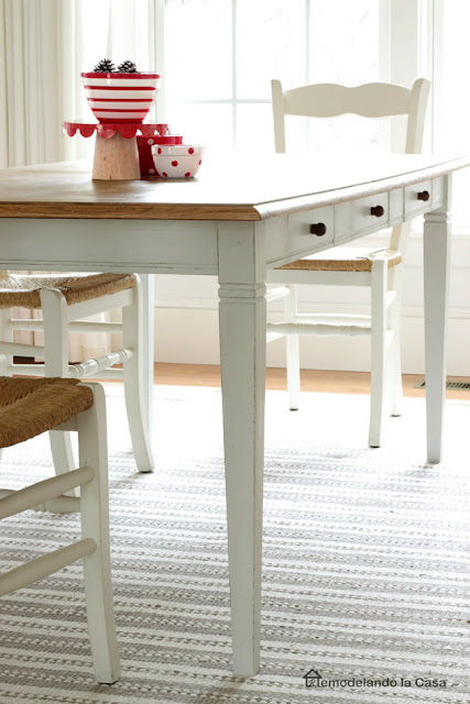 how to update a tired dining table with drawers