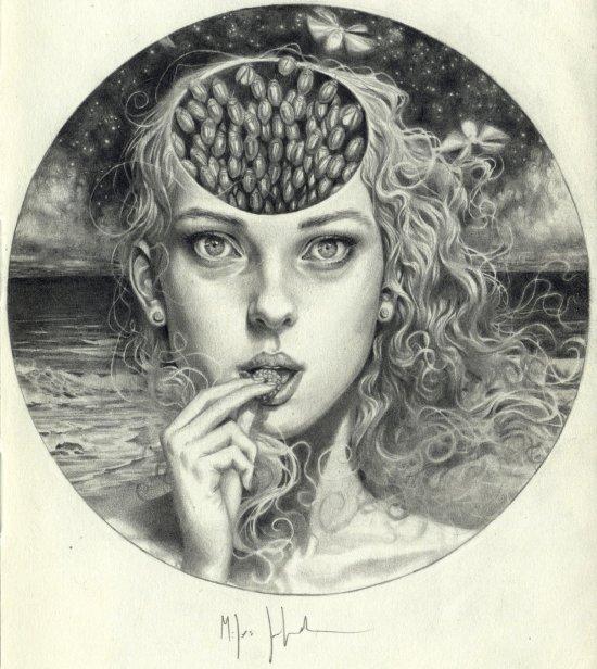 Miles Johnston deviantart arte desenhos preto e branco surreais mulheres