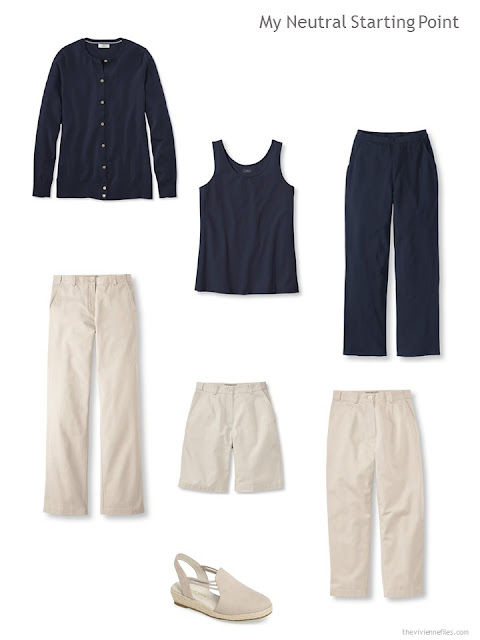 six neutral starting pieces, in navy and beige