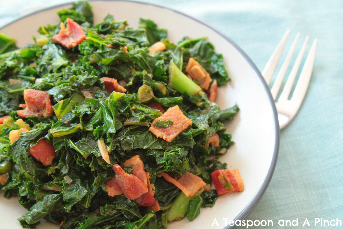 A Teaspoon And A Pinch Sauteed Kale With Balsamic And Bacon