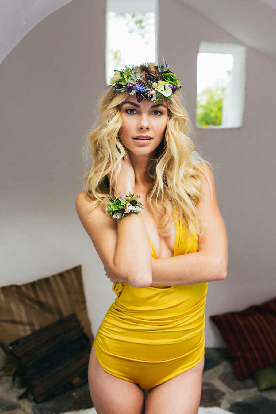 Honeymoon ideas / Photography: Kacie Q. Photography / Styling + Planning: Katalin Green / Swimwear: Nicolita Swimwear / Location: Korakia Pensione, Palm Springs / Necklace: Mountainside Designs / Ring: Fly Free Designs / Headpiece: Jennifer Behr / Flowers: Katalin Green + Mac's Floral