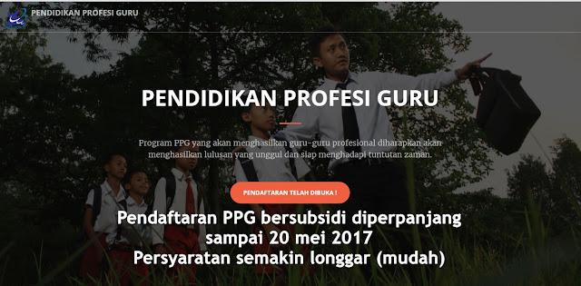 Pendaftaran PPG Bersubsidi Diperpanjang Sampai 20 Mei Dengan Dengan Persyaratan Terbaru
