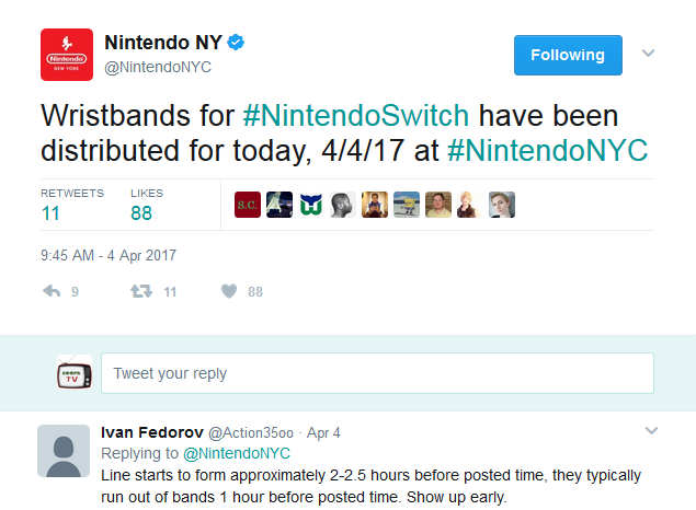 Nintendo Switch wristbands NYC NY New York store distribution Twitter