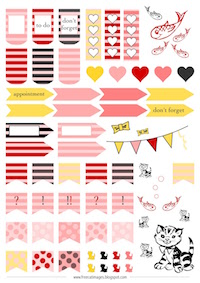 Free printable cat planner stickers: