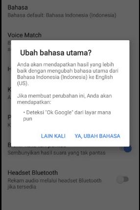 ubah bahasa suara ok google