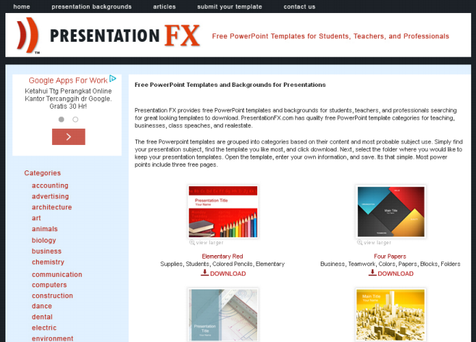 Free Download Template PowerPoint di Presentationfx