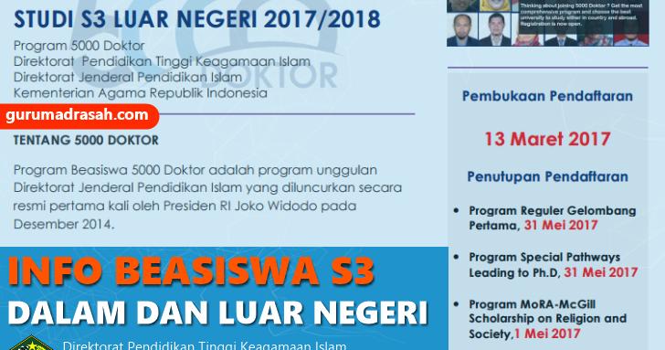 Beasiswa S3 Dalam Dan Luar Negeri Dari Kemenag Tahun 2017 Guru Madrasah