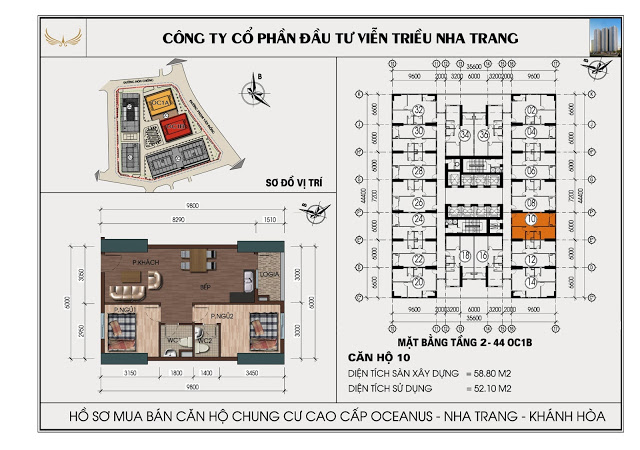 Sơ đồ căn hộ số 10 tòa OC1B Viễn Triều Nha Trang