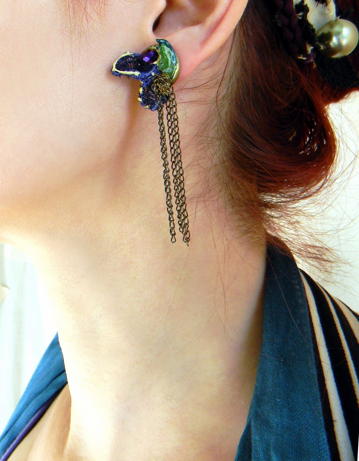 Original Post earrings with Organic Leaves, Bronze Chains and Blue Lace