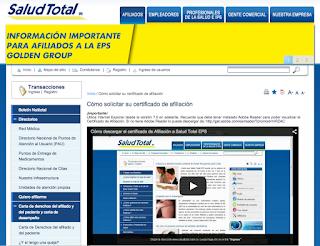 Certificado de Afiliacion Salud Total
