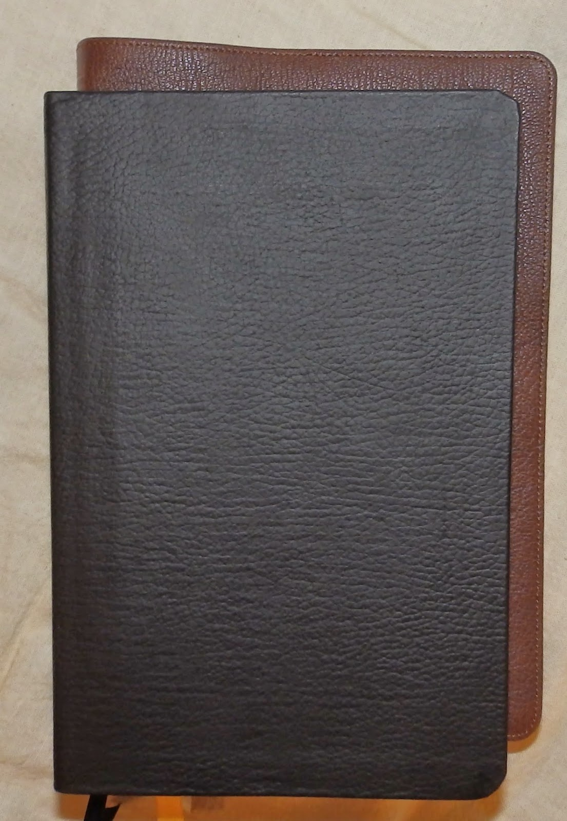Thomas Nelson black leather (top) with Schuyler brown goatskin