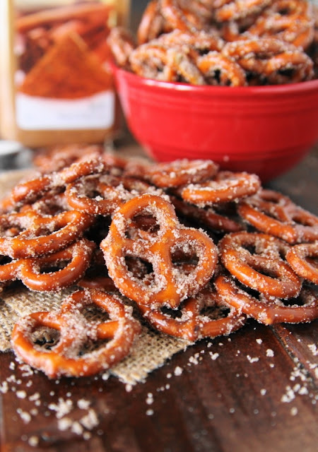 Cinnamon-Sugar Pretzels ~ the warm & comforting taste of cinnamon-sugar is transported into a deliciously crunchy snacking treat.  Whip up a batch of these salty-sweet little bites for any party, game-day get-together, or for just plain everyday snacking!  www.thekitchenismyplayground.com