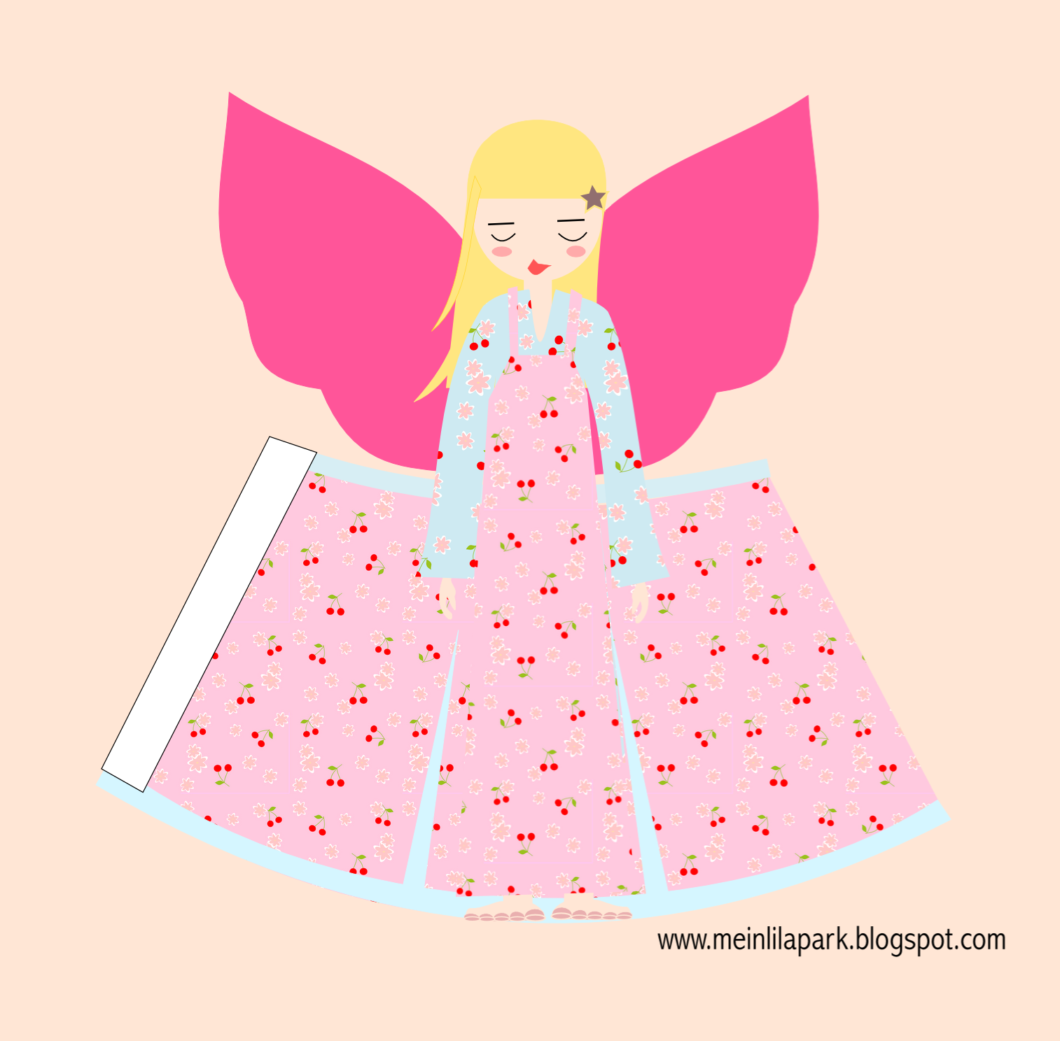 free printable paper angel ornament with candy pink wings ...