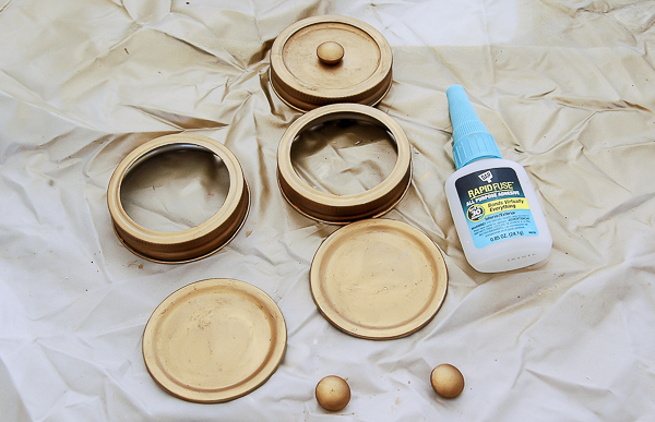 Gluing mason jar lids and rings together