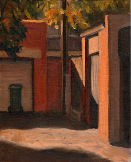 Oil painting of several garage doors backing onto a laneway with strong contrasting light and shadow.
