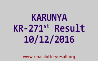 KARUNYA KR 271 Lottery Results 10-12-2016
