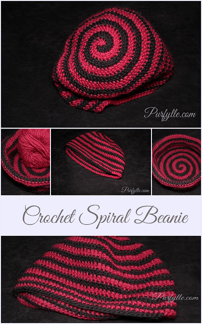 Crochet beanie doubles as a yarn bowl