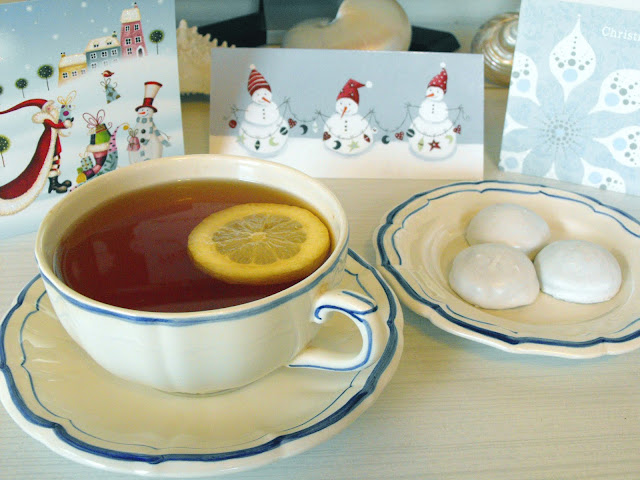 English Breakfast Tea with German Pfeffernusse Cookies with Gien Filets Bleu teacup, saucer and plate