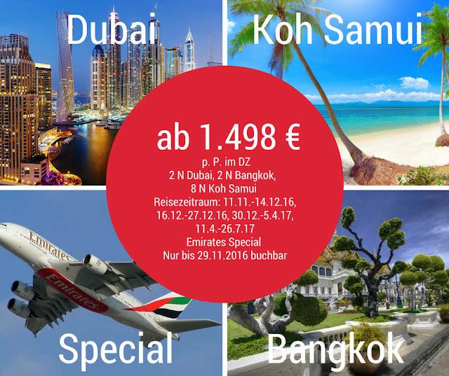 Emirates Sonderangebot: Koh Samui Urlaub mit Stopover Dubai und Bangkok