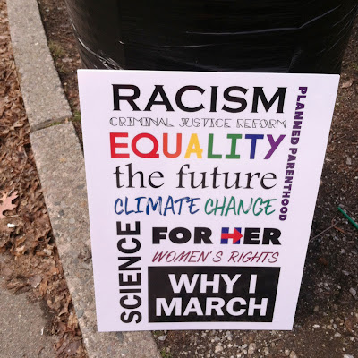 Why I March sign: Racism, Criminal Justice Reform, Equality,  Planned Parenthood, the future, Climate change, For Her, Women's Rights, Science