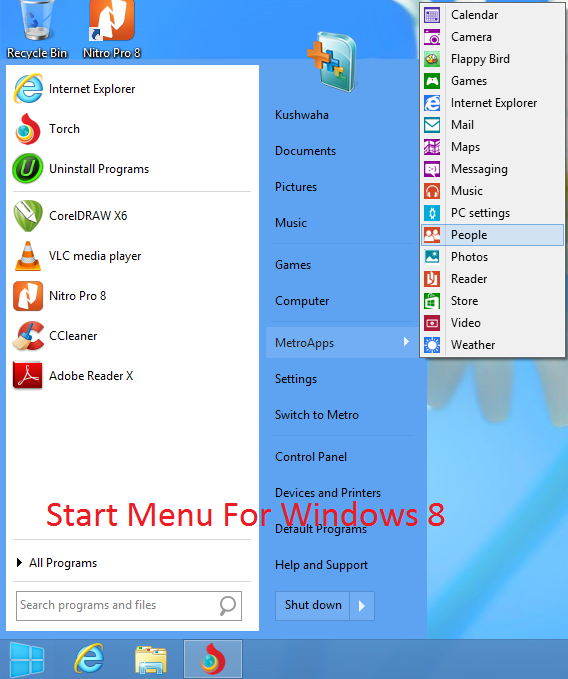 How to get start menu in windows 8