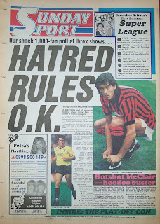 Back page of the Sunday Sport newspaper from 24th May 1987