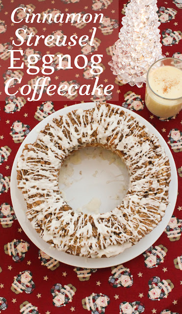Food Lust People Love: Cinnamon Streusel Eggnog Coffeecake is light on the inside with a rich buttery streusel and a sweet whisky glaze on top, perfect for your holiday dessert or snack time.