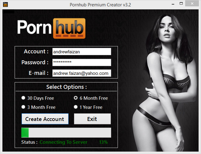 Pornhub account and password