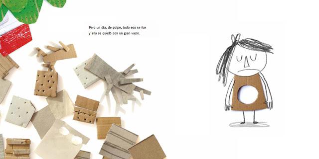 Página interior del libro ilustrado Vacío de Anna Llenas