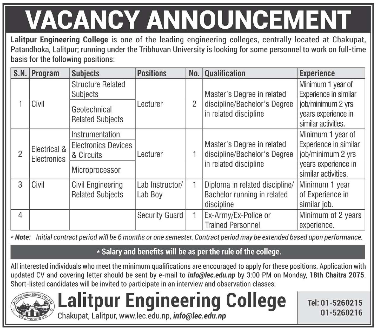 Lalitpur Engineering College, Vacancy Announcement