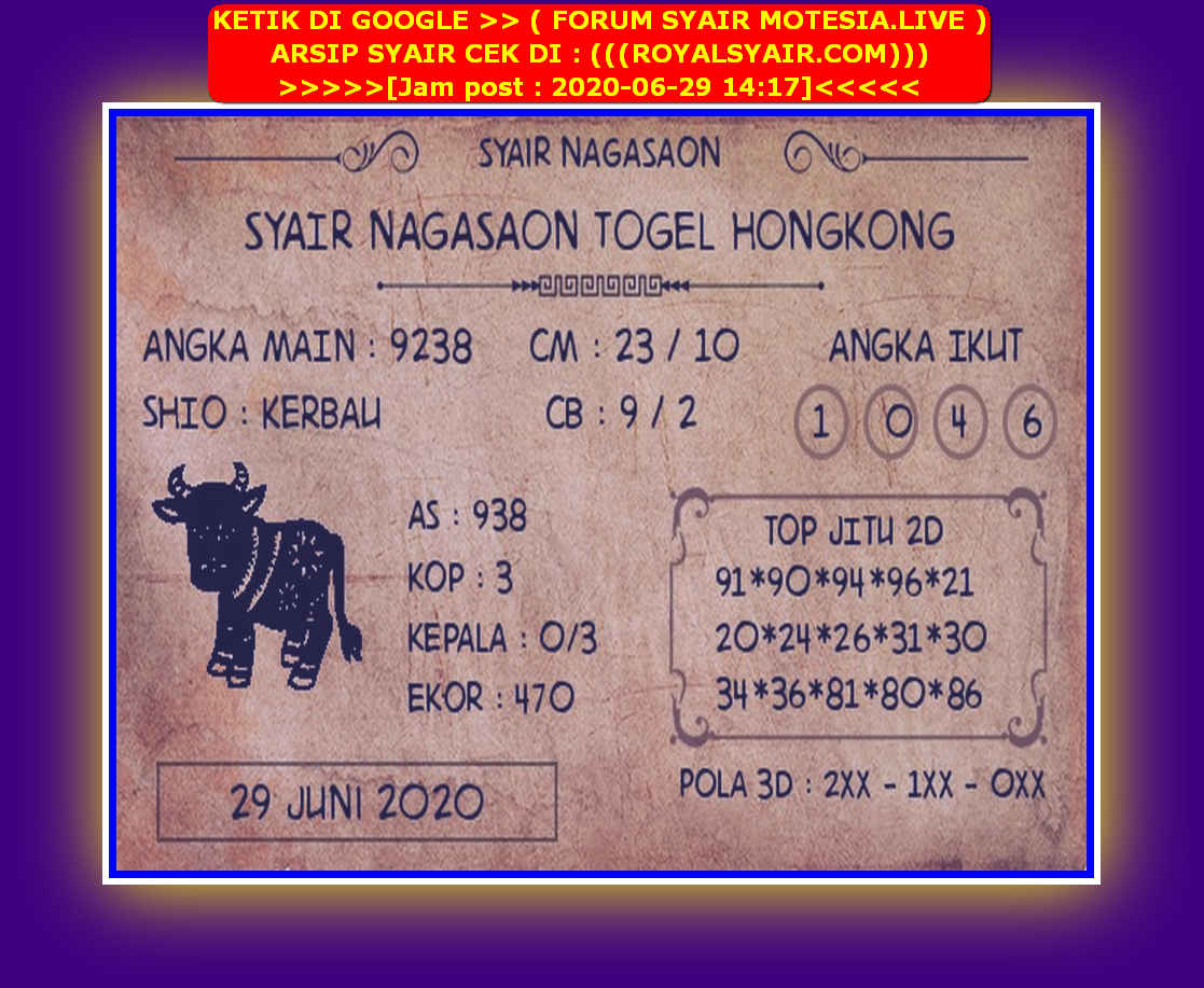 Kode syair Hongkong Senin 29 Juni 2020 175