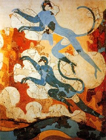 Επίτοιχος ζωγραφική -Κυανοπιθήκοι μαϊμούδες από το Ακρωτήρι Θήρας.