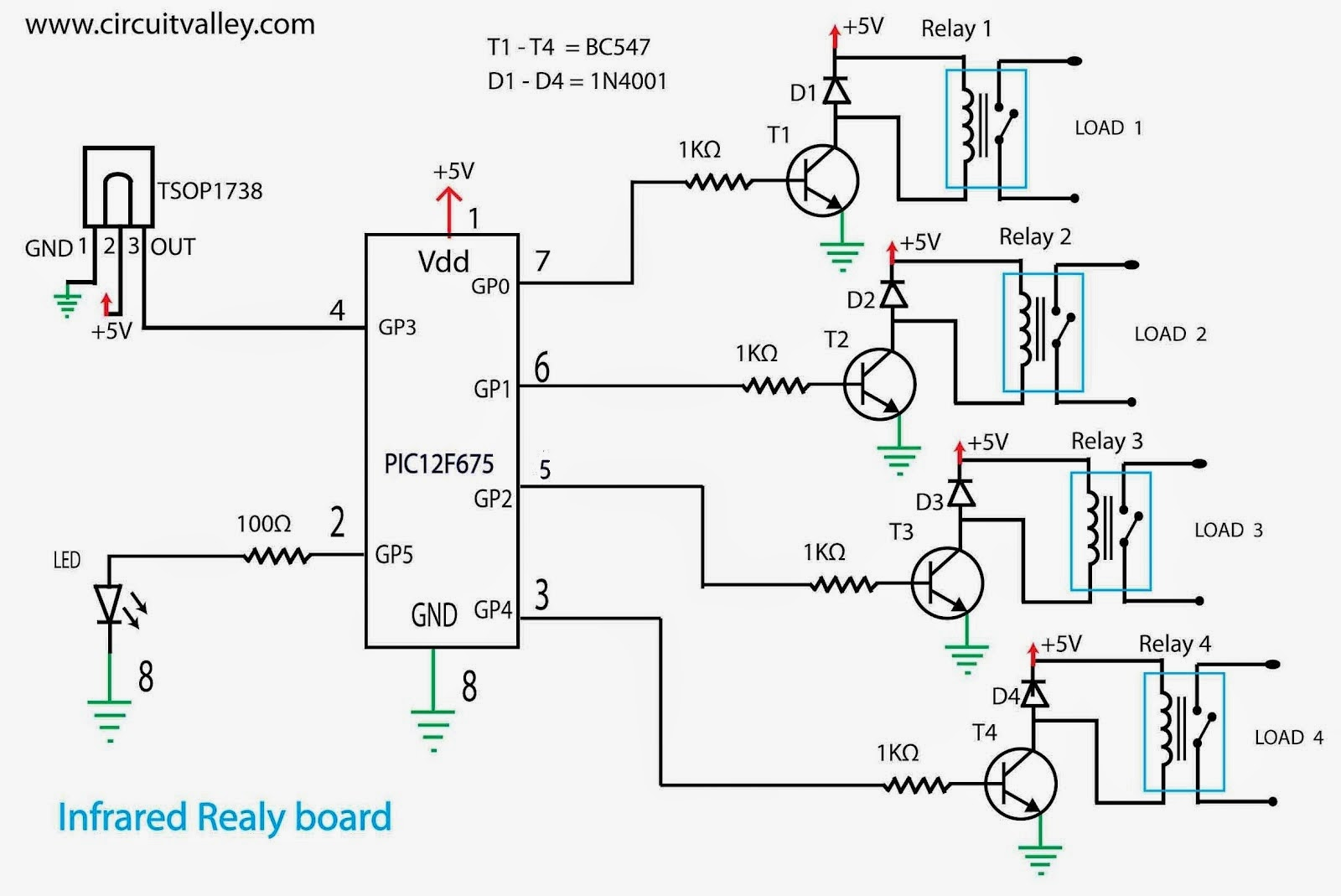 Arduino Ir Relay Wiring Block Diagram Explanation Embedded Engineering Infrared Remote Control Board With Pic 12f675 Microcontroller