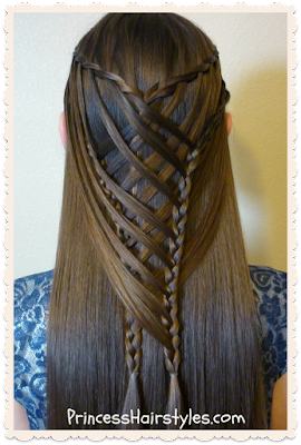 Criss cross waterfall mermaid braid hair tutorial