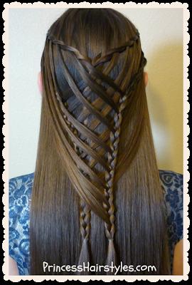 Criss cross waterfall mermaid braid hair tutorial