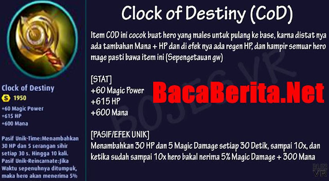Fungsi item mage Clock of Destiny mobile legend