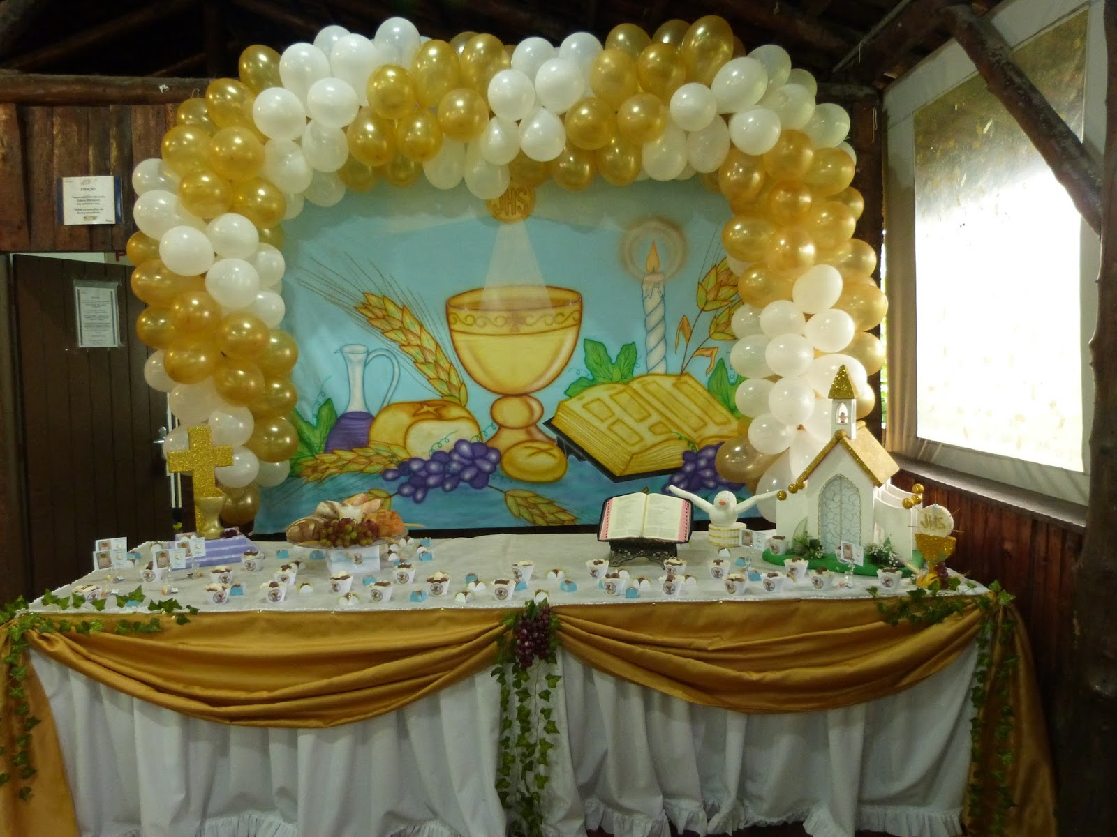 Primeira Eucaristia Decoraç u00e3o -> Decoração De Festa Para Primeira Comunhão