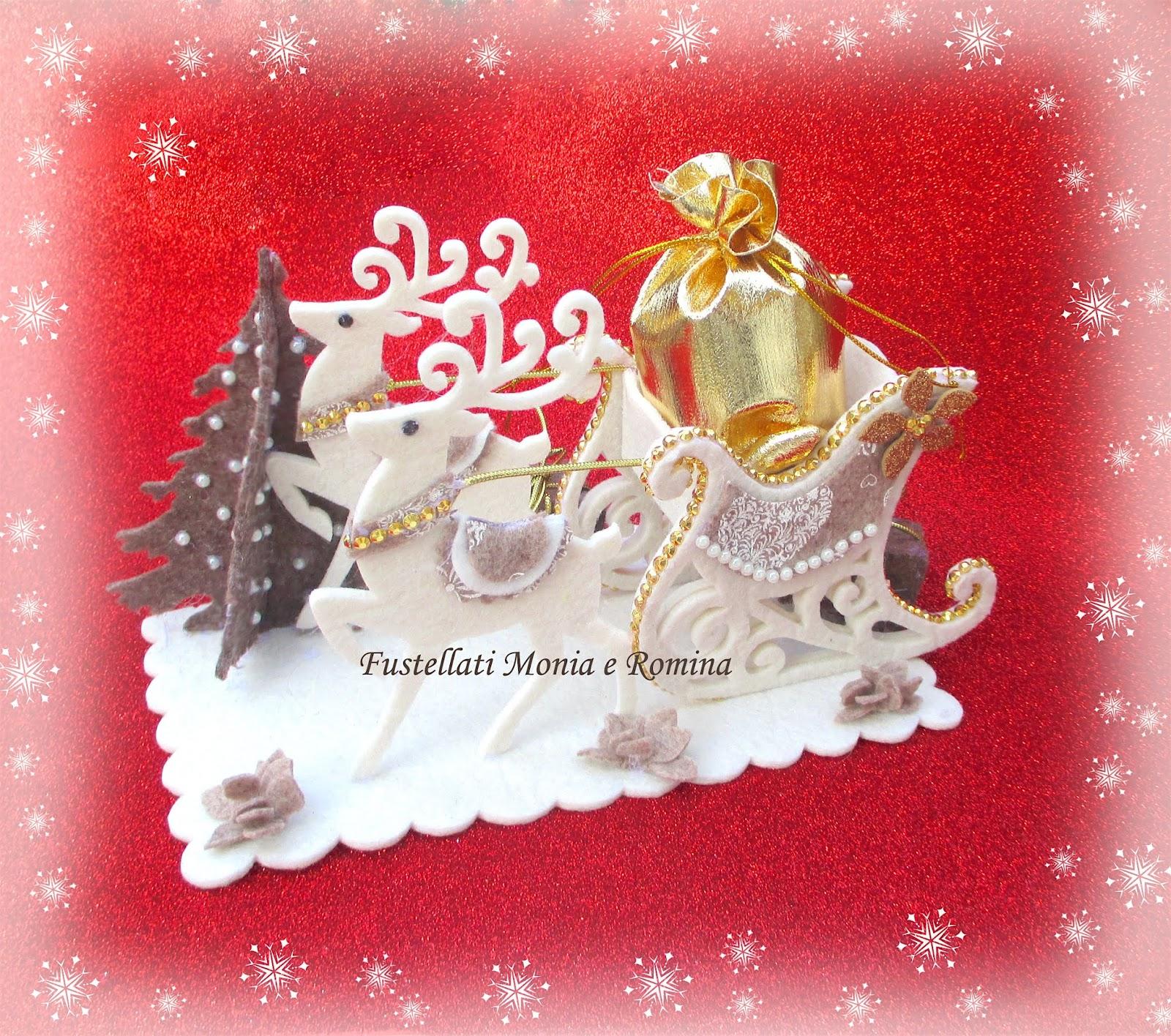 Slitta Di Babbo Natale Fai Da Te.Fustellati Monia E Romina Forme In Feltro Pannolenci E Gomma Per