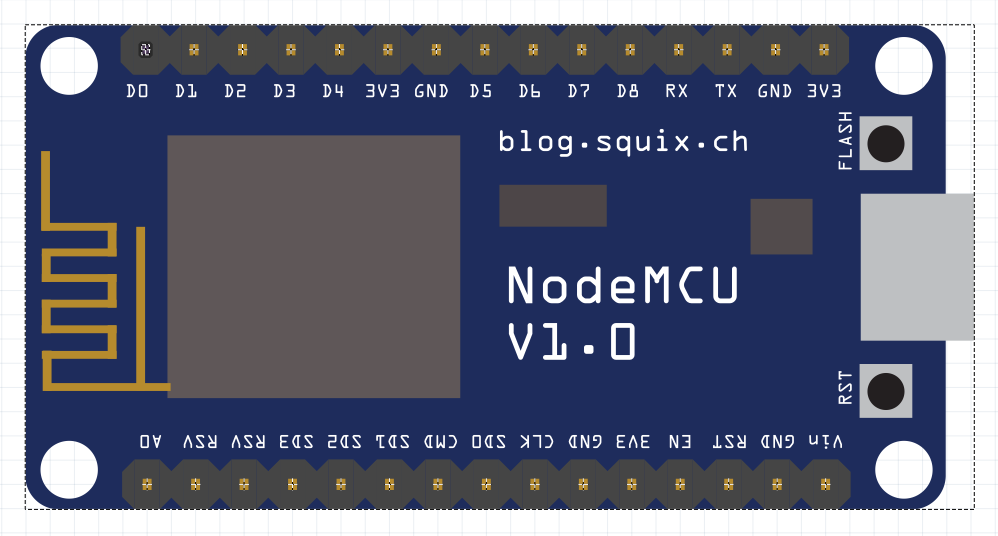 ESP8266: NodeMCU V1 0 part created for Fritzing - Squix